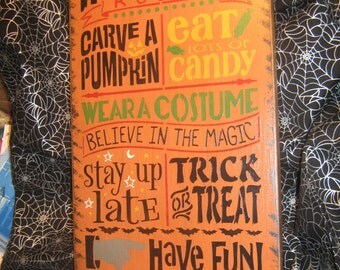 """Primitive  Holiday Wood Painted Halloween Salem Witch Subway Sign -  """" HALLOWEEN RULES """"  Witch Little Monsters Live Country  Rustic"""