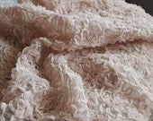 nude Chiffon Rosette Lace Fabric, photography prop, backdrop, bridal fabric, wedding tablecloth