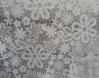 off white lace fabric, crocheted lace fabric, flowers lace, vintage lace fabric with floral, on sale