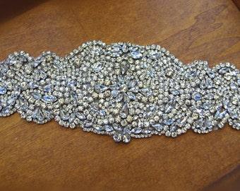 rhinestone applique, crystal applique, bridal sash applique