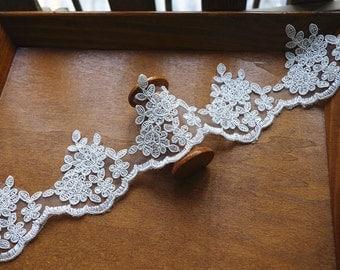 bridal lace, alencon lace,cord  wedding trim lace, scalloped lace trim for bridal veil