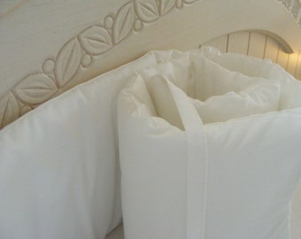 Organic Crib Bumpers Six Piece White or Any Organic or Premium Solid Fabric Choice with Piping Snow White