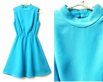 Turquoise Dress - 70s, high neckline, mod-style, cocktail, party, high neckline, xs, extra small - small, US 4, UK 8