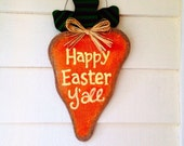 Happy Easter Y'all Burlap Carrot Hanging Wall Door Easter Decor Painted Burlap Southern Art Indoor/Outdoor Painted Burlap Hanging
