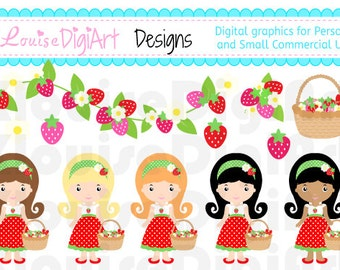 Girls and Strawberries clipart for Personal and Small Commercial Use