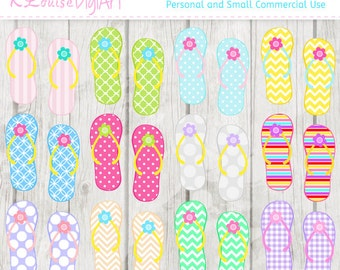 Flip Flop and Flowers Digital clipart for Personal and Small Commercial Use