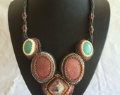 Necklace, Raspberry Rhodonite, Light Teal Amazonite and Abalone Bead Embroidered from Cynthia Fox