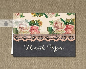 Chalkboard Lace Thank You Card Pink Rose Floral INSTANT DOWNLOAD Bridal Shower Folded Note Notecard Blank Inside Digital or Printed - Dana