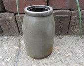 Antique Original Stoneware Crock Pottery Dark Gray Salt Glaze Mid 19 Century 1800s Old Pantry Cupboard Country Kitchen Primitive Rustic