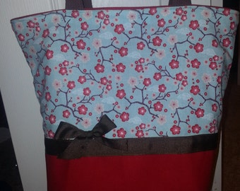 Blue Red Cherry Blossom Spring Asian Retro w/ brown ribbon Purse Tote BAG or Diaperbag
