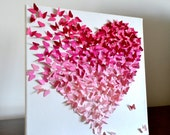 Pink Ombre Classic Butterfly Heart/ 3D Butterfly Wall Art / Nursery Art / Girls Room / Baby Shower/ Wedding/ Engagement/ Unique Gift for Her