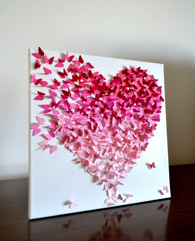 ombre klassische schmetterling herz rosa 3d butterfly. Black Bedroom Furniture Sets. Home Design Ideas