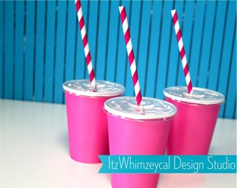 Paper Cups With Lids | Party Cups With Lids | Hot Pink | Paper Straws | 9oz | Disposable Cups | Paper Cups | Cups With Lids | Party Cups