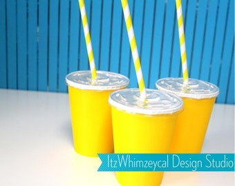 Yellow Party Cups With Lid And Paper Straws 10pc