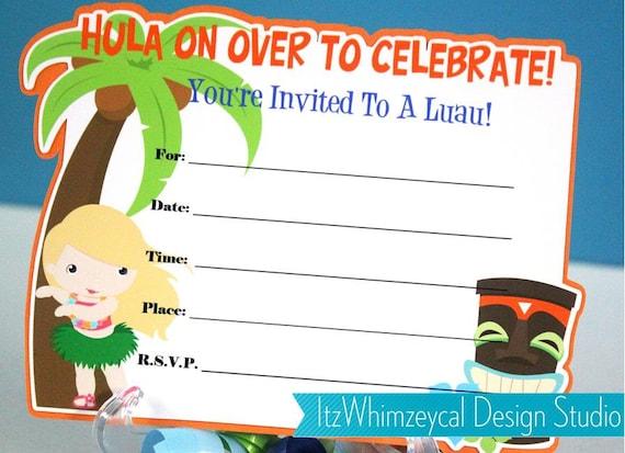 Luau Girl Hula Fill In The Blank Birthday Invitation by – Blank Birthday Invitations