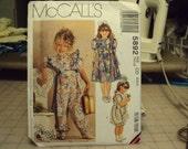 Vintage pattern, girls jumpsuit and dress McCalls 5892  uncut