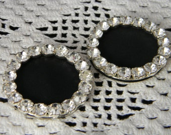 Vintage Rhinestone Shoe Buckle pair black fabric