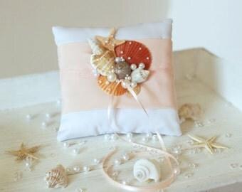 Coral Beach Ring Bearer Pillow. Ring Pillow for Beach Wedding. Shells Ring Pillow.
