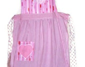 Pink Striped Apron with Applique Heart and seersucker    skirt with ties and patch pocket with appliqued heart - same as on the bib