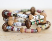 Brown and Olive Green Recycled Book Bead Paper Bracelet Set Made With Recycled Book Pages, Librarian Gift, Desert Jewelry