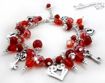 Red charm bracelet, red bracelet, valentines bracelet, birthstone bracelet, crystal jewelry, heart bracelet, love bracelet, Valentines gift
