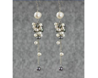 Gray white Pearl long dangling chandelier statement earrings Bridesmaids gifts Free US Shipping handmade Anni Designs