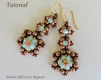 CHOCOLATE MINT beaded earrings beading tutorials and patterns seed bead beadwork jewelry beadweaving tutorials beading pattern instructions