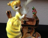 Vintage Sonsco Japan Ceramic Girl at a Desk with Feather Pen