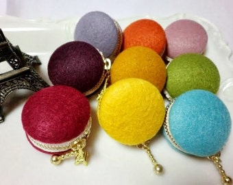 Felt macaroon coin purse/jewellery case - choose from 9 colours