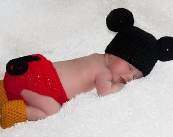 Crochet Mickey Mouse Outfit (Beanie/ hat, diaper cover and booties)