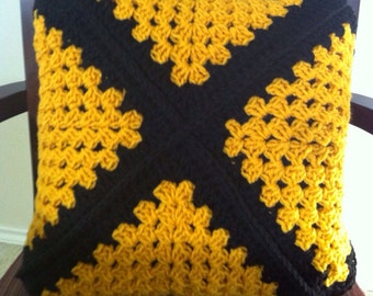 Black and gold handmade crochet throw accent pillow Ready to Ship