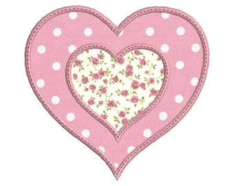 Instant download double heart embroidery design download