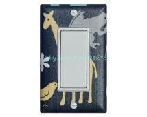 Giraffe Nursery Rocker Light Switch Plate Cover / Yellow Blue and Gray / Baby Boy Safari Decor / Urban Zoology in Bloom / Michael Miller