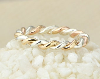 Two Toned Twist Ring, Stacker Ring, Thumb Ring, Braided Ring, Stackable Ring, Stacking Ring, Two Toned Ring, Twisted Ring