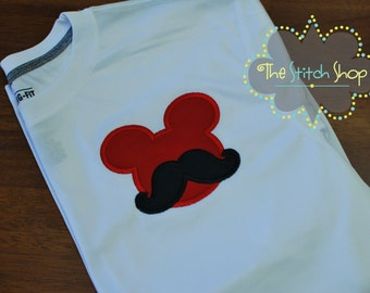 Mustache Mickey Mouse Mongorammed and Applique  Shirt