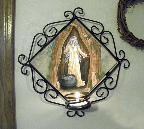 Crone of the Yew Tree Wall Candle Sconce