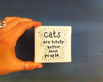 Tiny Canvas - 3x3 - Painted Quote Canvas - Cats - Gift - Glitter - Tiny Art