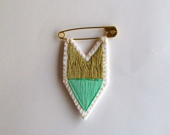 Triangle brooch embroidered in coral or green with gold on gold pin merit badge listing is for one pin