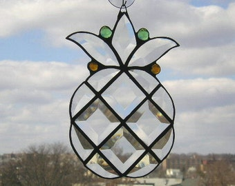 Pineapple Suncatcher|Pineapple|Stained Glass Suncatcher|Art & Collectibles|Glass Art|Suncatchers|Welcome Symbol|Handcrafted|Made in USA