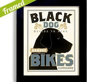 Black Lab Bicycle Art Personalized Black Labrador Retriever Bike Dog Art Print