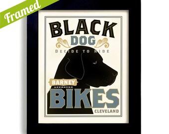 Black Lab Bicycle Art Personalized Black Labrador Retriever Bike Dog Art Print