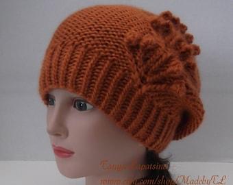 Clearance. Nosegay Slouchy Hat, Hand Knit Women Hat, Knit Pumpkin Hat