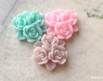 15 mm Resin Flower Cluster Cabochons of Assorted Colors in pairs (.ag)