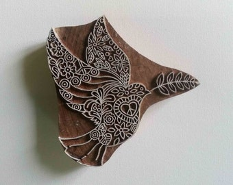 Indian Wood Stamp - Dove - Wood Block Printing - Hand Carved