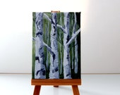 ACEO Original Acrylic Painting on Wrapped Canvas, White Birch Trees - MyHumbleJumble