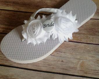 BRIDE Double Flower Flip Flops - Pick your flower color