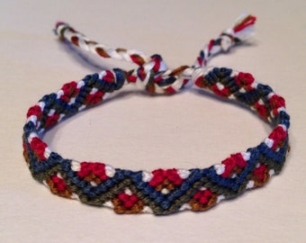 Evergreen, Navy, Gold & Burgundy - Zig Zag - Friendship Bracelet