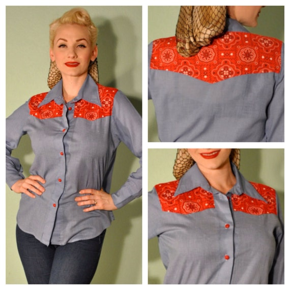 Vintage Western Blouse Chambray with Red Bandana Print Inlay Long Sleeve Button Up for Western Rockabilly Pinup Women 1940s 1950s Country