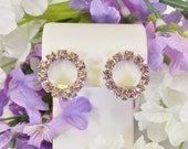 Lavender Rhinestone Circle of Love Clip On Earrings
