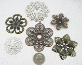 Assorted Filigree Iron Flower Beads (12 pieces) A1
